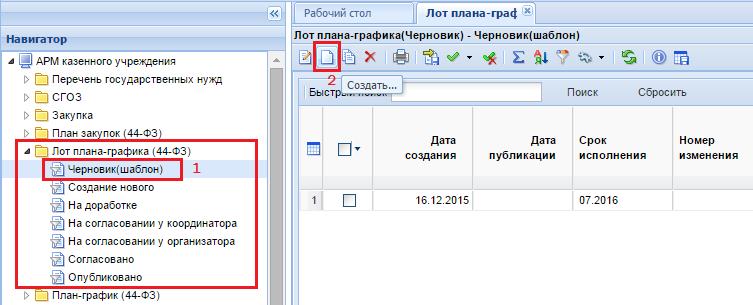 Создание документа «Лот плана-графика (Черновик)»