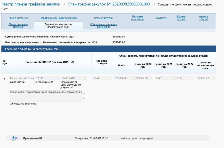 Вкладка «Сведения о закупках на последующие годы» позиции план-графика закупок в ЛК ЕИС заказчика