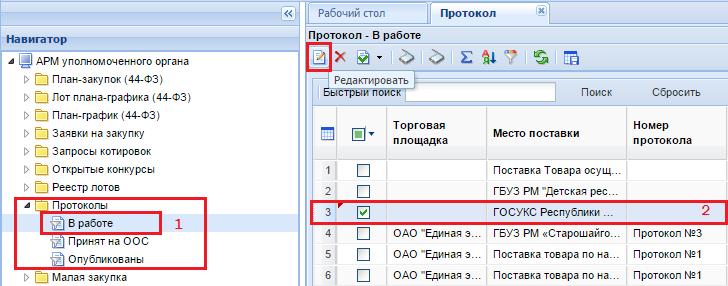 Рисунок 3. Список сформированных протоколов в фильтре «В работе»